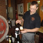 brewer Stephane Bogaert pouring the winning Réserve Hildergard from Brasserie St Germain
