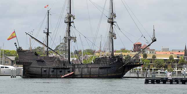 Old wooden ship in St. Augustine harbor